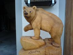 Swiss Bear carved by Melchior Trummer in Adelboden, Switzerland