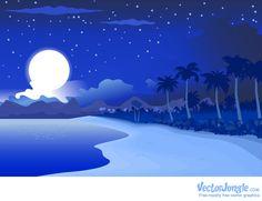 Midnight Blue Beachside Landscape, Vector by Vector Jungle License: Attribution Non-Commercial ID: All Free Vector, Vector Free Download, Free Vector Graphics, Vector Art, City Landscape, Mountain Landscape, Santorini, Beach Cartoon, Beach At Night
