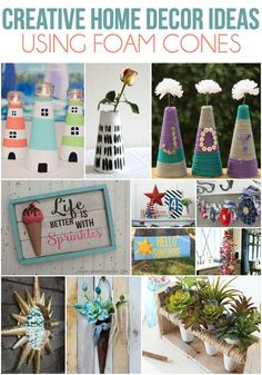 Easy home decor ideas that all start with foam cones! I had no idea you could do all of this with foam.