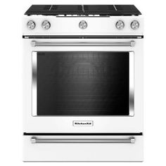 KitchenAid 30 in. 5.8 cu. ft. Slide-In Gas Range with Self-Cleaning Convection Oven in White - KSGG700EWH - The Home Depot
