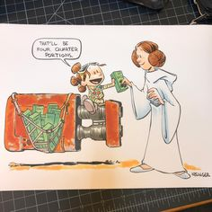 "7,784 Me gusta, 30 comentarios - @briankesinger en Instagram: ""Commission of lil #Rey delivering Girl Scout cookies to #princessleia. Only four commission spots…"""