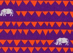 Echino Rhino Cotton Linen Purple