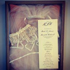 Veil, Garter, and Ceremony Program in a Shadow Box #wedding