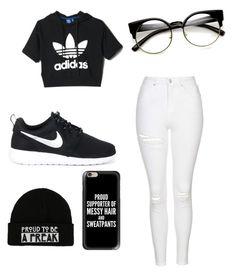 """BLACK AND WHITE OUTFIT"" by bitxhbea on Polyvore featuring adidas, Topshop, NIKE and Casetify"