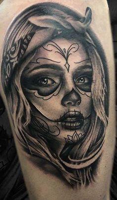 Skull Candy Tattoo, Sugar Skull Girl Tattoo, Girl Face Tattoo, Clown Tattoo, Face Tattoos, Girl Tattoos, Tattoos For Guys, Angel Girl Tattoo, Day Of The Dead Tattoo Sleeve