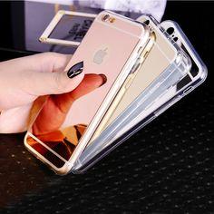 1PC Luxury Mirror Electroplating Soft Clear TPU Cases For iphone 6 6S 4.7inch / 6 6S Plus 5.5 inch 5 5S Back Cover ESJK1341 iPhone Hrvatska - Najbolja online kupovina za vas ! | iPhone.hr