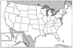 Printable blank map of the U.S.