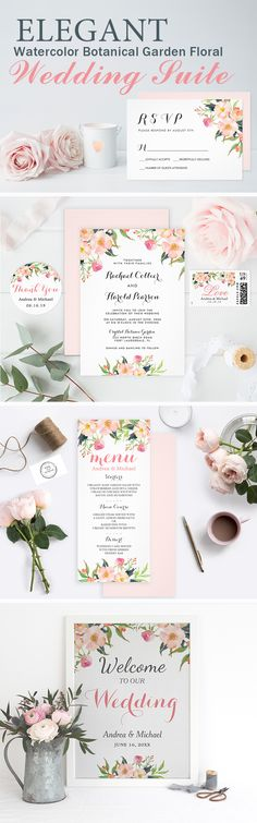 This Watercolor Botanical Garden Floral Wedding Suite sets a romantic tone. That's a perfect pick for your elegant wedding. Wedding Invitation Trends, Spring Wedding Invitations, Floral Invitation, Invitation Set, Wedding Stationary, Wedding Themes, Wedding Ideas, Bohemian Chic Weddings, Wedding Suite