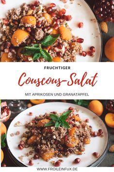 Lust auf einen fruchtigen Sommersalat? Dann probiere doch mal die Kombiantation aus Couscous, Granatapfel, Aprikosen und Minze. Ein toller Salat zum grillen oder einfach für warme Sommerabende.