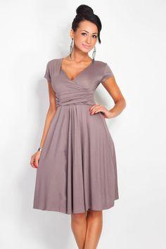 V-neck knee-length solid dress plus size