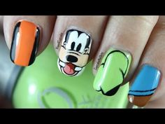 Disney Nail Art *Goofy* - YouTube