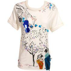 Lanvin Cherry blossom embellished t-shirt