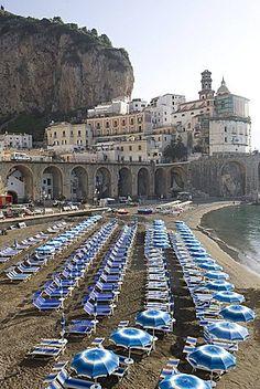 The beach of Atrani, Costiera Amalfitana, UNESCO World Heritage Site, Campania, Italy,