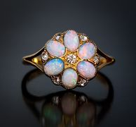 Antique 18k Gold, Opal And Diamond Flower Ring - European c. 1900