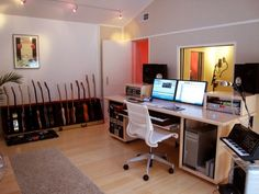 Check out this massive list of home studio setup ideas. Filter down by room colors, number of monitors, and more to find your perfect studio. Home Recording Studio Setup, Home Studio Setup, Music Studio Room, Audio Studio, Studio Desk, Studio Interior, Recording Studio Furniture, Home Studio Musik, Home Music