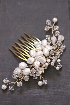 TABITHA wedding headpieces, pretty floral pearl comb by @Emily Schoenfeld Whitehouse Handmade