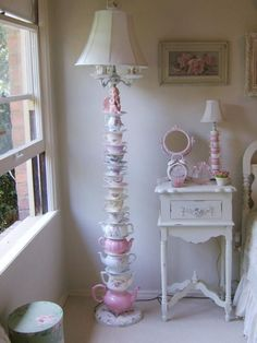 Shabby Chic Lamp Shades Ideas 13 – Home and Apartment Ideas Shabby Chic Living Room, Chic Lamp, Teacup Crafts, Shabby, Shabby Chic Lamp Shades, Chic Decor, Chic Bedroom, Shabby Chic Furniture, Teapot Lamp