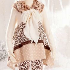 Mallory May Leopard Holiday Top Tunic (top only, sold without stole)  from Freckles Children's Boutique for $22.00