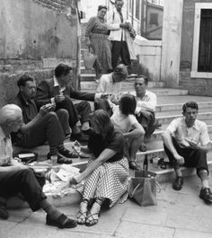John Piper (far left) and Myfanwy (centre) with composer Benjamin Britten and English tenor Peter Pears, having a break whilst in Venice.