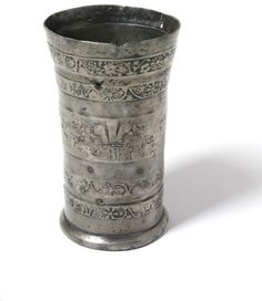 Pewter beaker moulded with horizontal bands of ornament. Tudor History, Antique Bottles, Antique Pewter, 17th Century, Mugs, Antiques, Silver, Primitives, Utensils