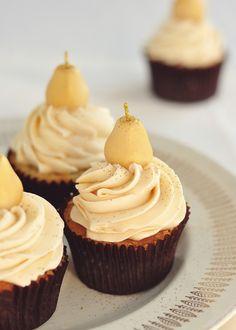 Marzipan & Pear Cupcakes w/ Caramel Swiss Buttercream, Topped w/ Marzipan Pears