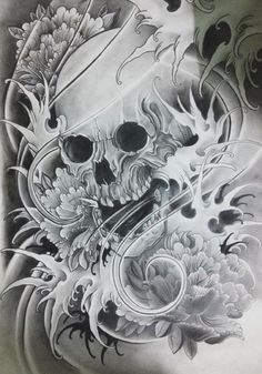 Japanese skull by Eric Than, via Behance