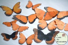12 large orange wafer paper edible butterflies for cakes Wafer Paper Flowers, Wafer Paper Cake, Cake Pop Tutorial, Paper Flower Tutorial, Fall Cakes, Summer Cakes, Cake Decorating Tutorials, Cookie Decorating, Decorating Ideas