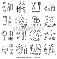 Modern icons set of cosmetics, beauty, spa and symbols collection made in modern linear vector style. Perfect design element for the cosmetics shop, a hairdressing salon, cosmetology center