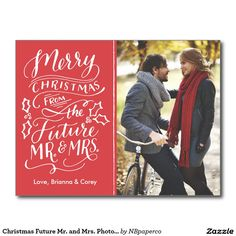 Christmas Future Mr And Mrs Photo Save The Date Postcard