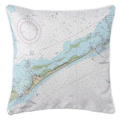 Ocracoke Island Nautical Chart Pillow