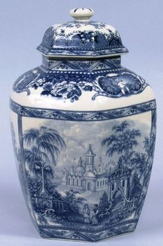 Blue Castle Toile Porcelain Jar 10.5 inches high
