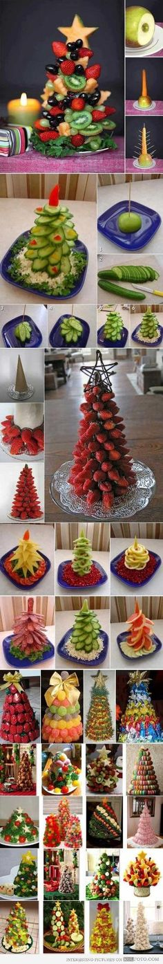 Edible Christmas trees for buffet tables made of various kinds of food - vegetables fruits . Fruit Christmas Tree, Christmas Goodies, Christmas Desserts, Christmas Treats, Holiday Treats, Holiday Fun, Christmas Holidays, Christmas Decorations, Veggie Christmas
