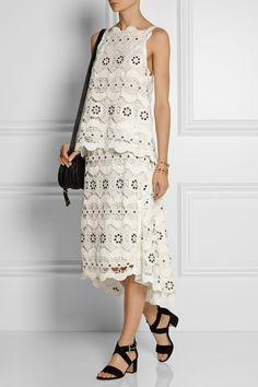 Chloé|Asymmetric guipure lace top & skirt|NET-A-PORTER.COM $2395 + $3150, 80/20 cotton/poly, viscose/silk lining