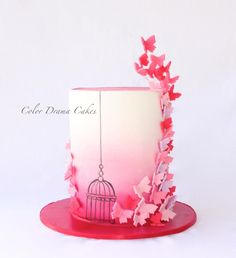 Butterfly Pink Cake - Cake by Color Drama Cakes
