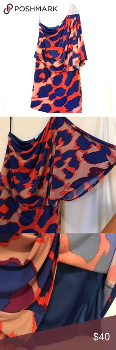 Jessica Simpson One Shoulder Dress Stunning, bright orange & blue patterned dress, lined, worn once & in perfect condition! Jessica Simpson Dresses One Shoulder