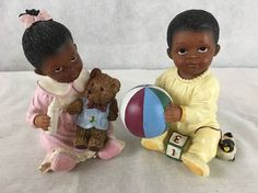 Treasures Of The Heart African American Figurines Little Loves Boy And Girl