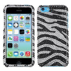 MYBAT Diamante Protector Cover Case for iPhone 5C - Black Zebra Skin