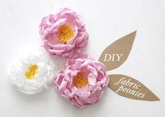 DIY Fabric Peony Flower Accessories + Gift Toppers by Ez at Creature Comforts Handmade Flowers, Diy Flowers, Fabric Flowers, Paper Flowers, Peony Flower, Flower Diy, Paper Peonies, Tulle Flowers, Faux Flowers