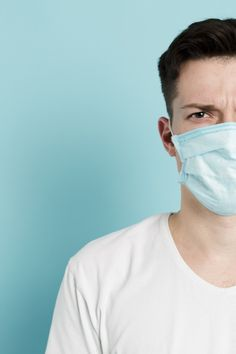 Front view of man wearing a medical mask… Mens Chino Pants, Male Poses, Male Face, Geometric Designs, Asian Men, Free Photos, Man Wear, Medical, Stock Photos