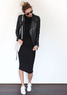 Bodycon leather jacket