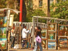arte, pinturas, cuadros y mucho mas en las calles de santiago de chile cerca de la plaza de armas