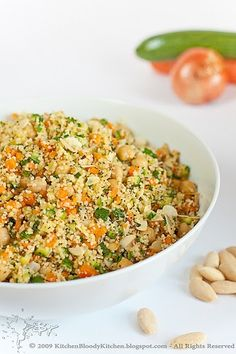 Couscous with vegetables and nuts - Recipes and food, cooking from anywhere in the world Nut Recipes, Veggie Recipes, Salad Recipes, Cooking Recipes, Healthy Recipes, Cooking Tips, Easy Recipes, Mediterranean Quinoa Salad, Couscous Salat