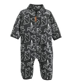 Check this out! Jumpsuit in soft fleece with a printed pattern. Stand-up collar, zip at front, and elastic trim at cuffs and hems. - Visit hm.com to see more.