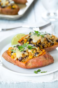 Honey-Lime Quinoa Stuffed Sweet Potatoes - Cooking Classy. Top taco filling ingredients onto sweet potato instead of a corn or flour tortilla. DIY healthy recipes.