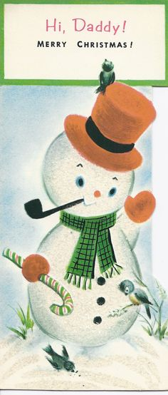 C440 Vintage Christmas Greeting Card - by Gibson - to Daddy. $4.00, via Etsy.