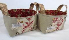Leslie's Art and Sew: A Pair of Fabric Baskets