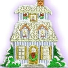 """4x4 Christmas Village Set"" Children  and guests will delight at seeing this stitched Christmas village stitched on tree skirts and more! Comes with 12 charming buildings! http://www.oregonpatchworks.com/items.php?did=58228=150552"