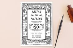 """""""Ink Detailing Frame"""" - Hand Drawn, Rustic Wedding Invitations in Ink by Shiny Penny Studio."""