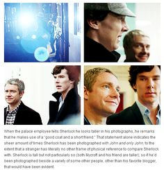 "Other than the statement, ""Sherlock is tall, but not particularly so,"" I agree. He's pretty damn tall. But everything else, yes, yes, and also yes."