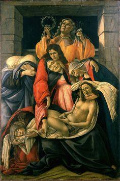 """Sandro Botticelli, """"Lamentation over the Dead Christ"""" (1490–1495), tempera on panel, 107 cm × 71 cm (42 in × 28 in), Museo Poldi Pezzoli, Milan"""